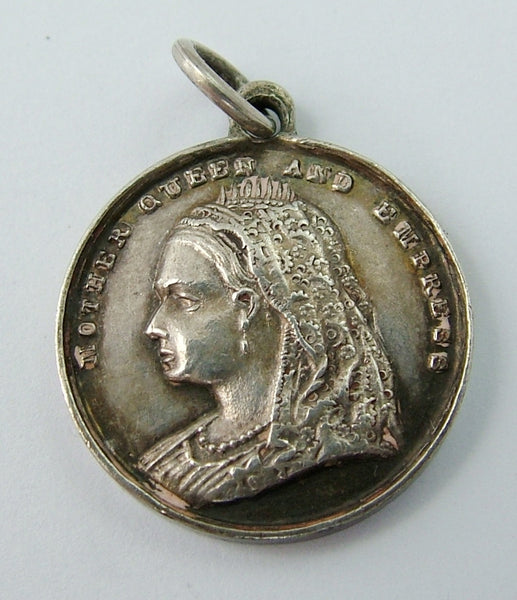 "Antique Victorian Silver Coin Charm ""In Memoriam"" Death of Queen Victoria Antique Charm - Sandy's Vintage Charms"
