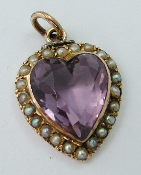Antique Victorian 9ct Gold Seed Pearl & Faceted Amethyst Heart Charm Antique Charm - Sandy's Vintage Charms