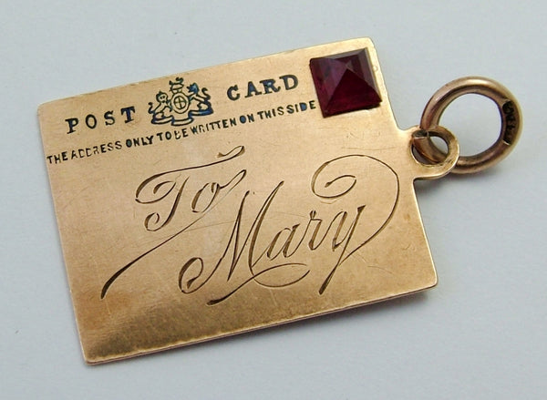 Antique Edwardian 9ct Rose Gold, Enamel & Ruby Postcard Charm Rose Gold Charm - Sandy's Vintage Charms