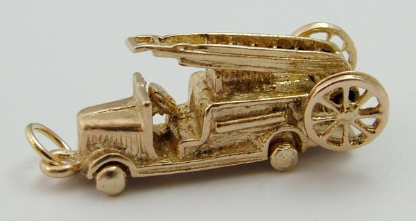 Vintage 1960's 9ct Gold Fire Engine Charm - Moving Ladder & Wheels