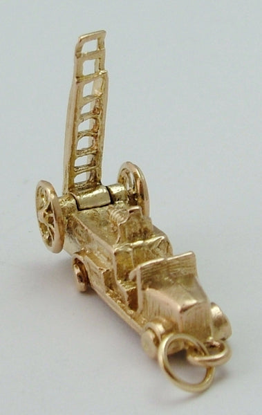 Vintage 1960's 9ct Gold Fire Engine Charm - Moving Ladder & Wheels Gold Charm - Sandy's Vintage Charms