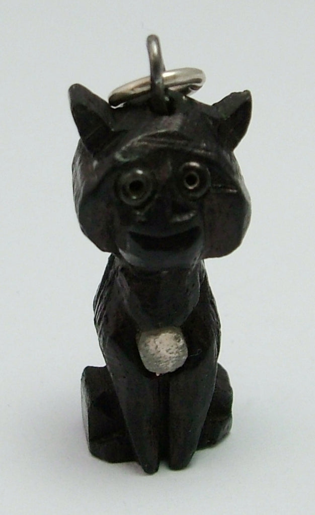 Antique Edwardian c1910 Carved Bog Oak Cheshire Cat Stanhope Charm - 6 Views of Ambleside Antique Charm - Sandy's Vintage Charms