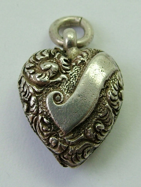 Antique Victorian Silver Puffy Heart Charm with Repousse Decoration Antique Charm - Sandy's Vintage Charms