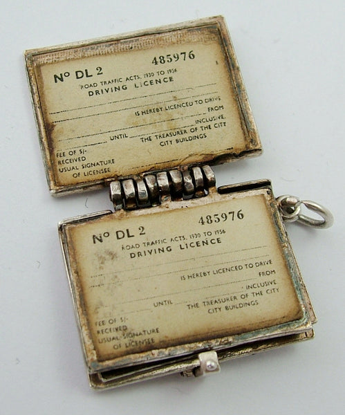 Very Large Vintage 1960's Driving Licence Charm with Papers & Messages Inside HM 1967 Silver Charm - Sandy's Vintage Charms