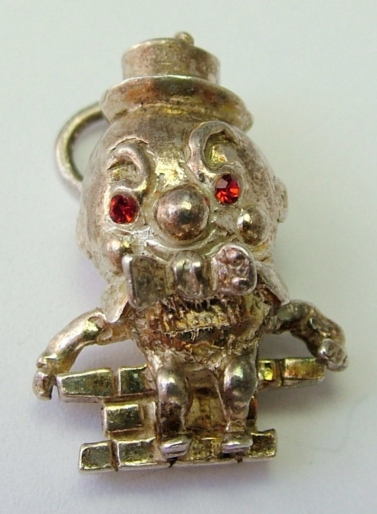 1970's Solid Silver Humpty Dumpty Charm with Jewelled Eyes - Sandy's Vintage Charms