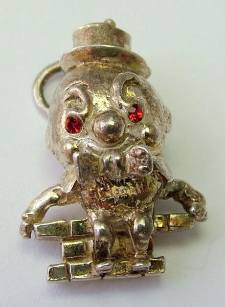 1970's Solid Silver Humpty Dumpty Charm with Jewelled Eyes Silver Charm - Sandy's Vintage Charms