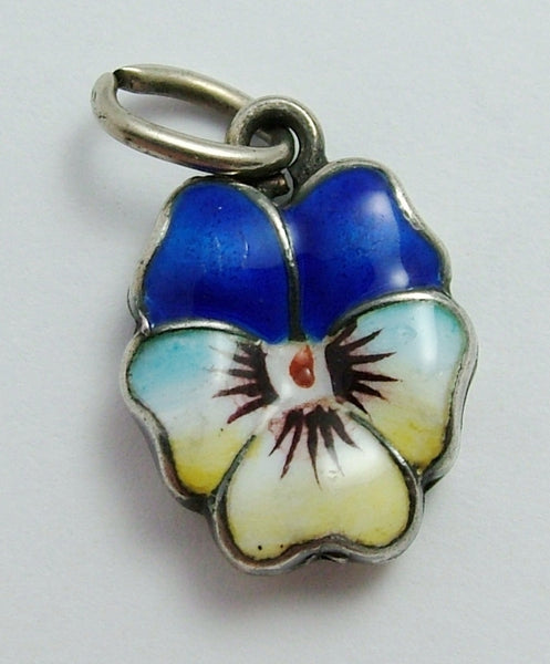 Antique Edwardian Puffed Silver & Double Sided Enamel Pansy Flower Charm Enamel Charm - Sandy's Vintage Charms