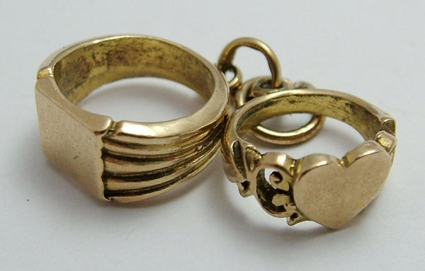 Vintage 1970's 9ct Gold Signet Rings Charm - Ladies & Gents Gold Charm - Sandy's Vintage Charms