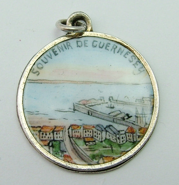 Antique Edwardian French c1910 Silver & Enamel Guernsey Souvenir Disc Charm