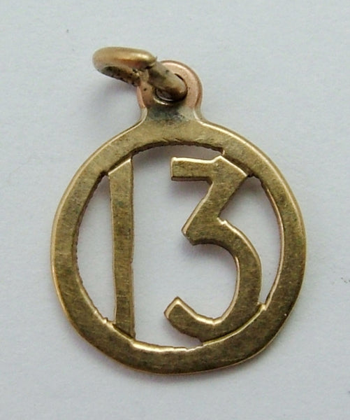 Small Vintage 1940's 9ct Gold Lucky No.13 Charm Gold Charm - Sandy's Vintage Charms