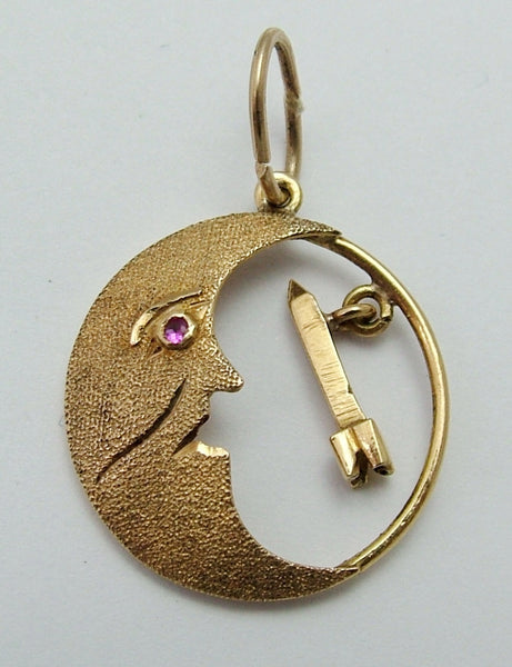 Vintage 1970's 18ct 18k Gold Man in the Moon & Rocket Charm with Ruby Eye