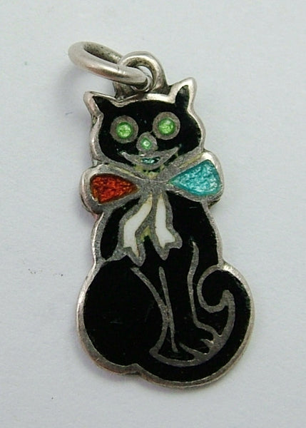 Antique Edwardian Silver & Enamel Black Cat Charm with Red, White & Blue Bow Antique Charm - Sandy's Vintage Charms