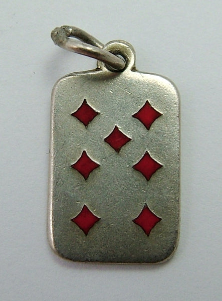 Vintage 1950's Silver & Enamel Seven of Diamonds Playing Card Charm Enamel Charm - Sandy's Vintage Charms