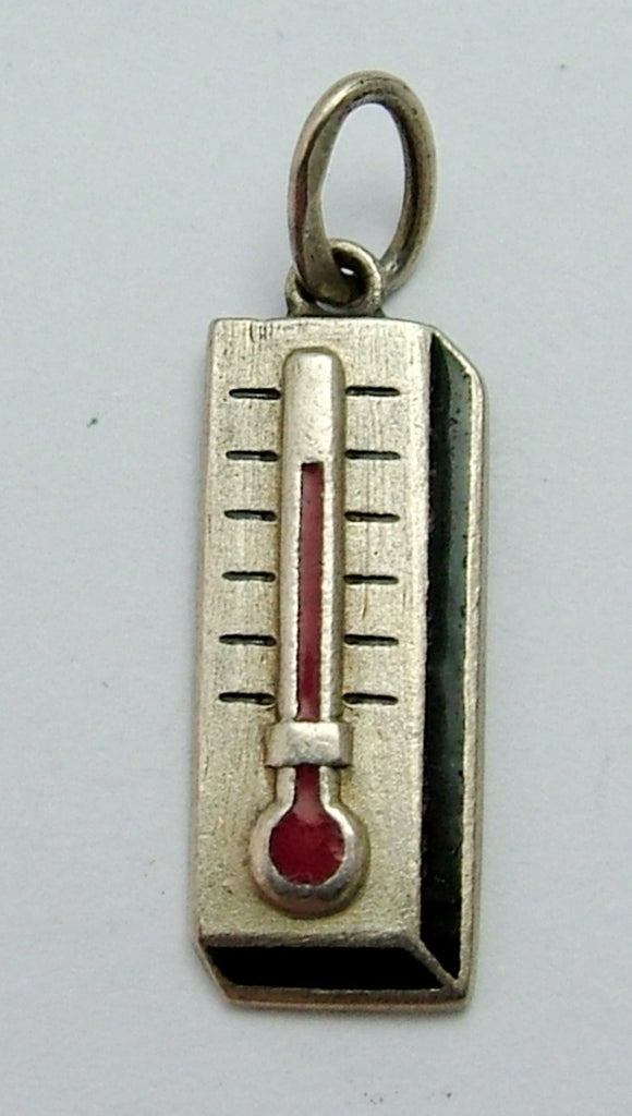 Small Vintage 1950's Silver & Enamel Thermometer Charm Enamel Charm - Sandy's Vintage Charms