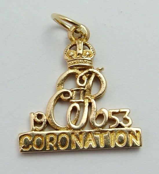 Vintage 1950's 9ct Gold Royal Coronation Souvenir Charm Gold Charm - Sandy's Vintage Charms