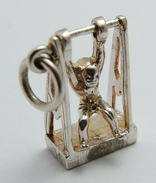 Vintage 1970's Silver Swinging Monkey Charm - He Actually Swings Silver Charm - Sandy's Vintage Charms