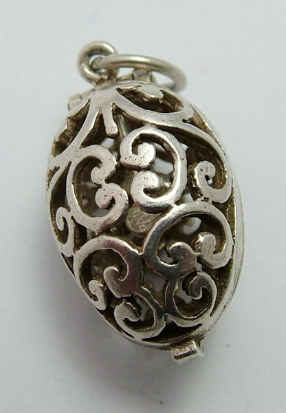 Vintage 1960's Silver Opening Filigree Egg Charm Flying Bird Inside Silver Charm - Sandy's Vintage Charms