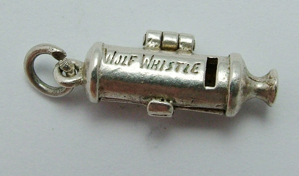 Vintage 1960's Silver Opening Nuvo Whistle Charm Wolf Inside