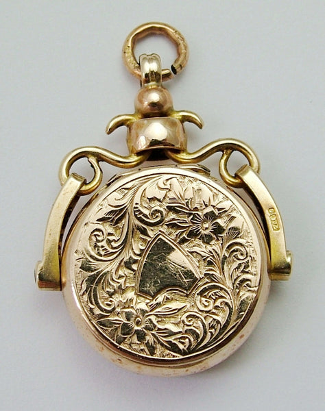 Large Antique Edwardian 9ct Gold Spinner Fob or Charm with Locket & Agate