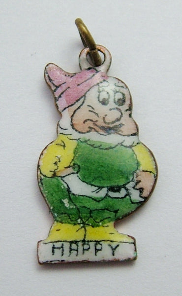 Vintage 1930's Brass & Enamel Snow White & The Seven Dwarfs Charm HAPPY 1920s-1950s Charm - Sandy's Vintage Charms