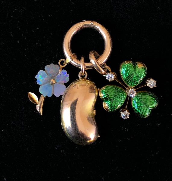 Antique Edwardian c1905 15ct Gold Opening Bean Charm with a Heart Inside Antique Charm - Sandy's Vintage Charms