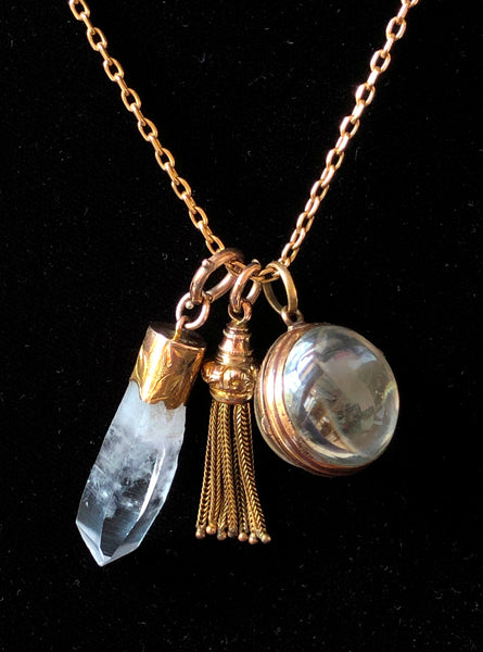 Large Antique Victorian 9ct Gold & Rock Crystal Charm Fob or Pendant Antique Charm - Sandy's Vintage Charms