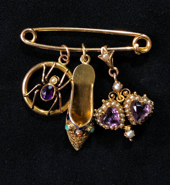Antique Edwardian c1905 Solid 9ct Gold Pin Brooch & Charm Hanger Antique Charm - Sandy's Vintage Charms