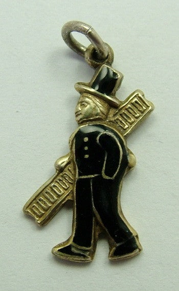 1950's Silver Gilt & Black Enamel Chimney Sweep Charm - Sandy's Vintage Charms