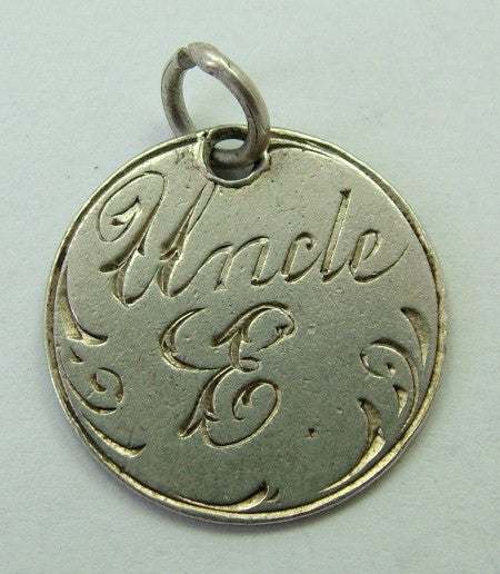 Antique Victorian Silver Engraved Love Token Coin Charm UNCLE 'E' Love Token - Sandy's Vintage Charms