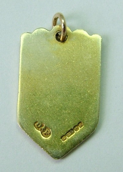 1970's 9ct GOLD & Enamel Shield Charm for PEMBROKE DOCK in Wales Shield Charm - Sandy's Vintage Charms