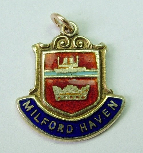 1970's 9ct GOLD & Enamel Shield Charm for MILFORD HAVEN in Wales - Sandy's Vintage Charms