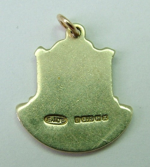 1970's 9ct GOLD & Enamel Shield Charm for MILFORD HAVEN in Wales Shield Charm - Sandy's Vintage Charms