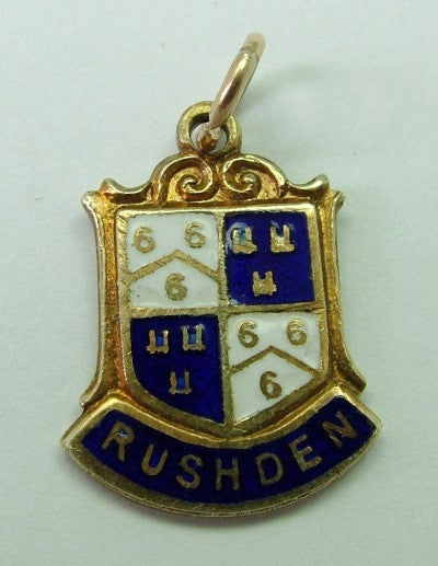 1970's 9ct GOLD & Enamel Shield Charm for RUSHDEN in Northamptonshire Shield Charm - Sandy's Vintage Charms