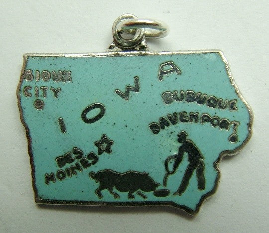 Silver & Enamel US State Map Charm IOWA - Sandy's Vintage Charms