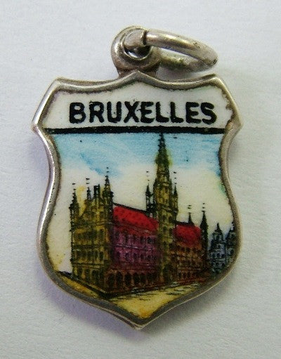 1960's Silver & Enamel Shield Charm for BRUXELLES in Belgium Shield Charm - Sandy's Vintage Charms