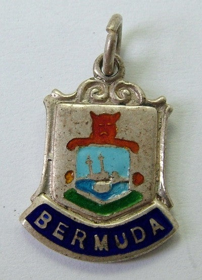 1960's Silver & Enamel Shield Charm for BERMUDA Shield Charm - Sandy's Vintage Charms