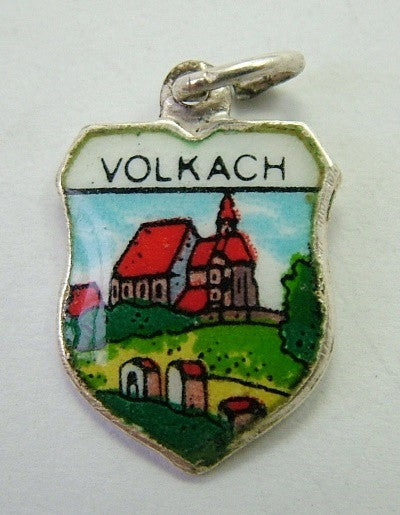 1960's Silver & Enamel Shield Charm for VOLKACH in Germany Shield Charm - Sandy's Vintage Charms