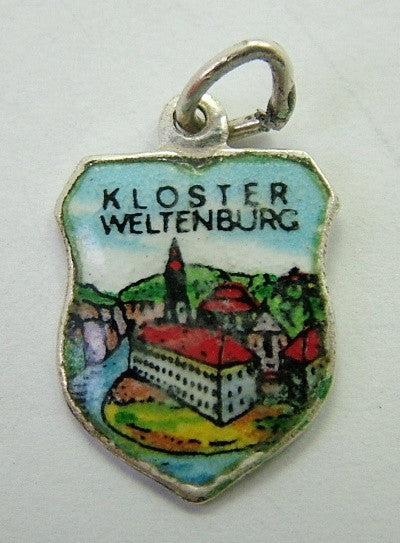 1960's Silver & Enamel Shield Charm for KLOSTER WELTENBURG - Sandy's Vintage Charms