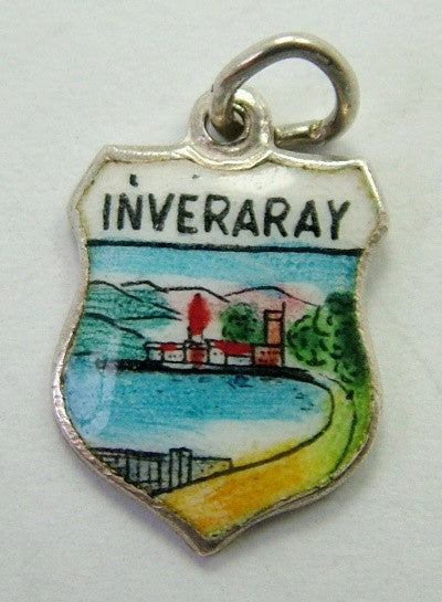 1960's Silver & Enamel Shield Charm for INVERARAY in Scotland Shield Charm - Sandy's Vintage Charms