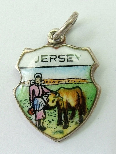 1960's Silver & Enamel Shield Charm for JERSEY Shield Charm - Sandy's Vintage Charms