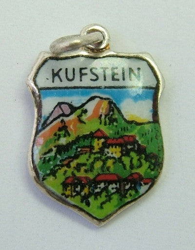 1960's Silver Plated & Enamel Shield Charm for KUFSTEIN in Austria Shield Charm - Sandy's Vintage Charms