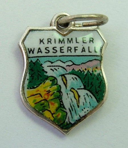1960's Silver Plated & Enamel Shield Charm for KRIMML WATERFALLS in Austria Shield Charm - Sandy's Vintage Charms