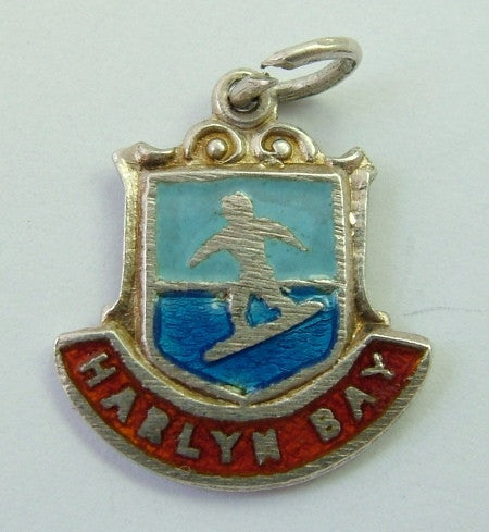 1960's Silver & Enamel Shield Charm for HARLYN BAY in Cornwall Shield Charm - Sandy's Vintage Charms