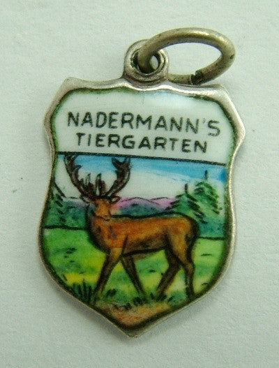 1960's Silver & Enamel Shield Charm for NADERMANN'S TIERGARTEN Shield Charm - Sandy's Vintage Charms