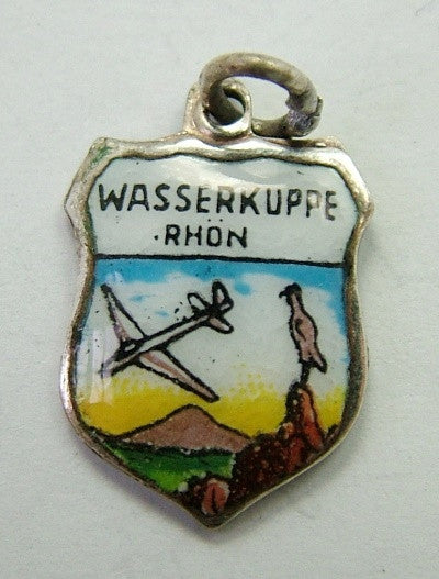 1960's Silver Plated & Enamel Shield Charm for WASSERKUPPE RHON Shield Charm - Sandy's Vintage Charms
