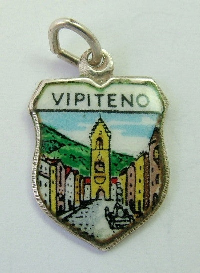 1960's Silver & Enamel Shield Charm for VIPITENO in Italy Shield Charm - Sandy's Vintage Charms
