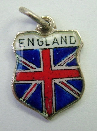 1960's Silver & Enamel Shield Charm for ENGLAND Shield Charm - Sandy's Vintage Charms