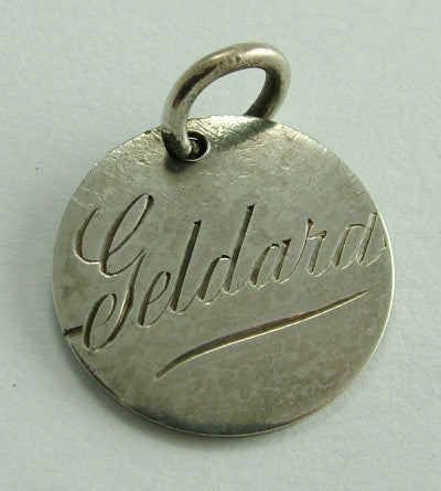 George V Silver Engraved Love Token Coin Charm GELDARD - Sandy's Vintage Charms