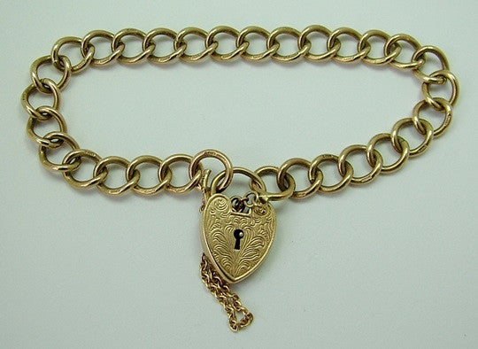 1960's English Solid 9ct Gold Padlock Bracelet with Patterned Padlock Bracelet - Sandy's Vintage Charms