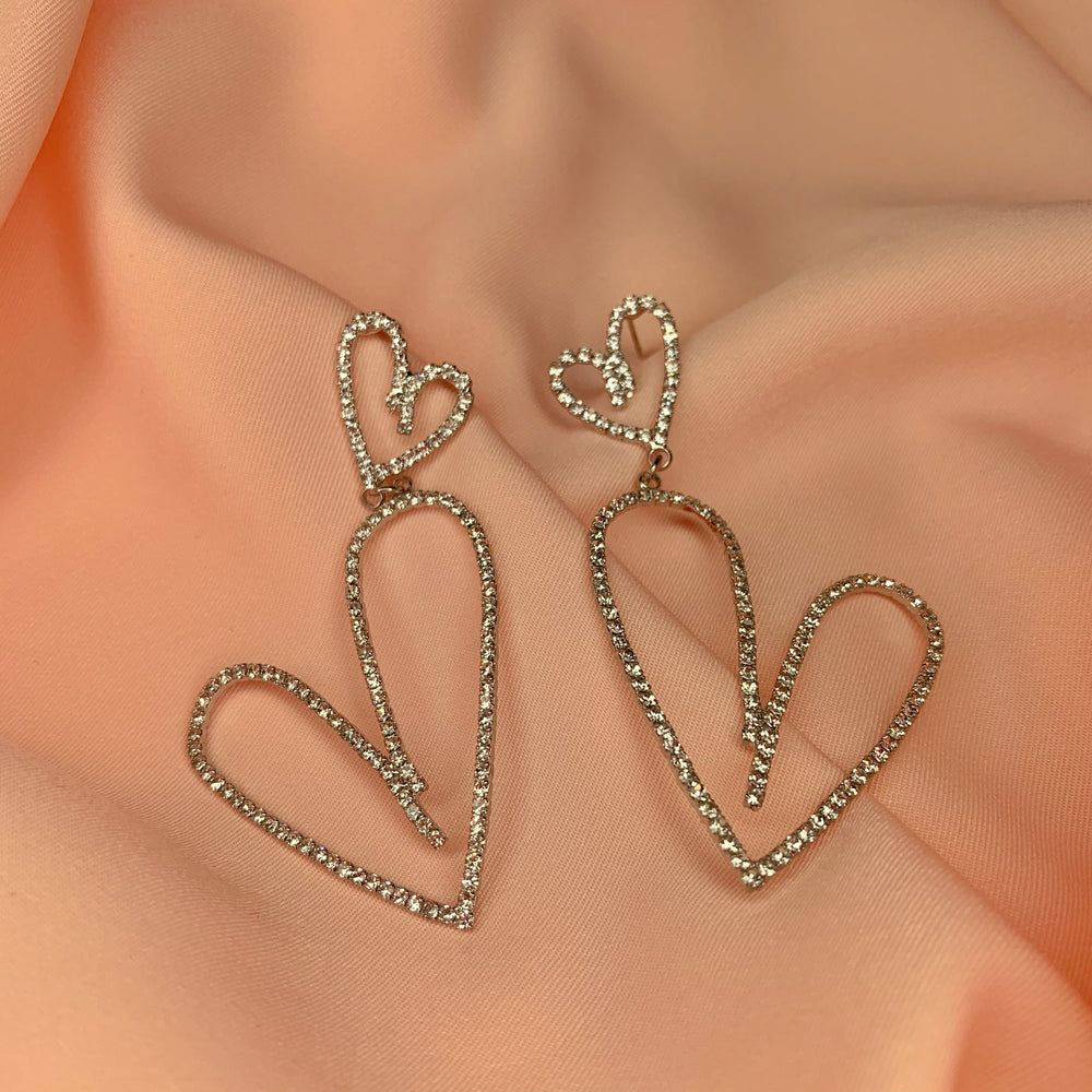 Sweetheart crystal earrings